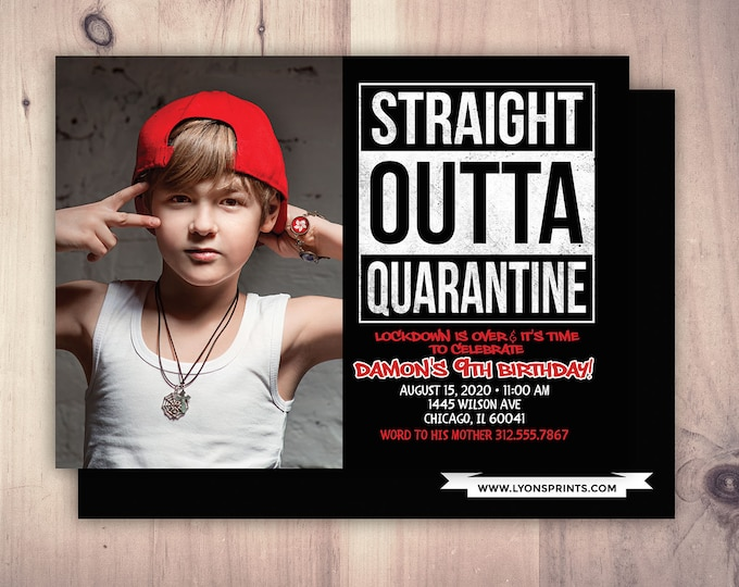 Quarantine, Hip Hop Birthday invitation,  Old School 90's Hip Hop Invitations, Rap Hip Hop Theme. Graffiti Hiphop Birthday Party Invitations