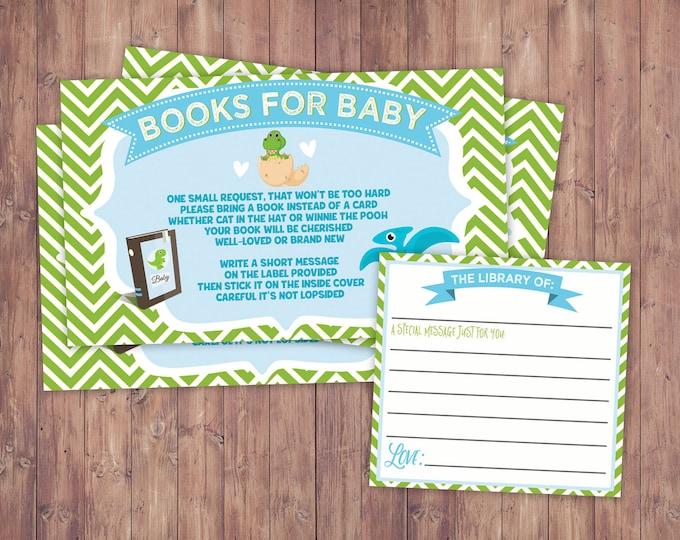 Book request,Dinosaur, baby shower, dino baby, chevron pattern, hatching, party decor, baby dinosaur, coed baby shower, game