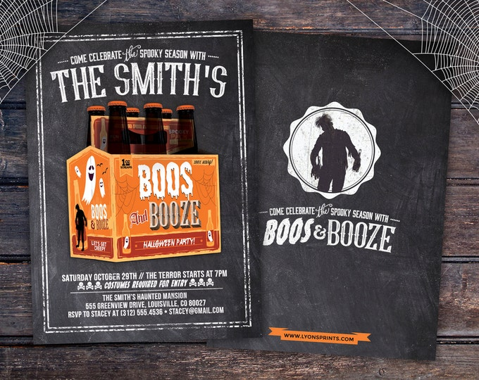 Boos and Booze, Halloween invite, Halloween party, Spooky Halloween invitation, Halloween invites, Spooky invitations,  haunted house