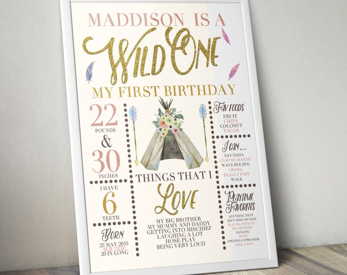 Wild one, photo prop, sign, TEEPEE Brthday, Aztec, arrow, pow wow, BOHO, Tribal, first birthday, 1st birthday, Digital file only
