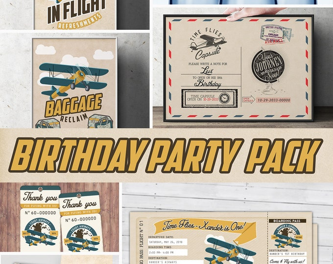 Time Flies party pack,  birthday Invitation, party signs, favor tags, vintage airplane invitation, travel party, airplane birthday