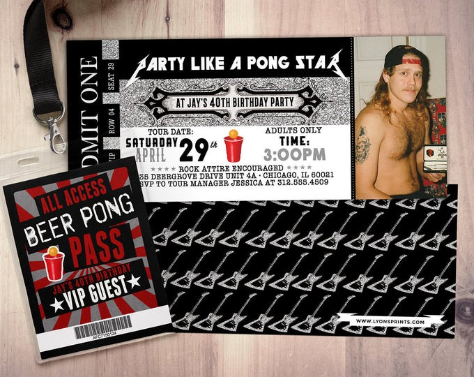 ROCK STAR concert ticket birthday party invitation- Music invitation, rockstar party, drums,40 rocks, 30th,21st,50th, 60th,75th, beer pong