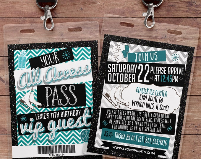 Ice Skating, invitation, birthday, VIP PASS, backstage pass, Vip invitation, birthday invitation,lanyard, Rock Star birthday, winter,chevron