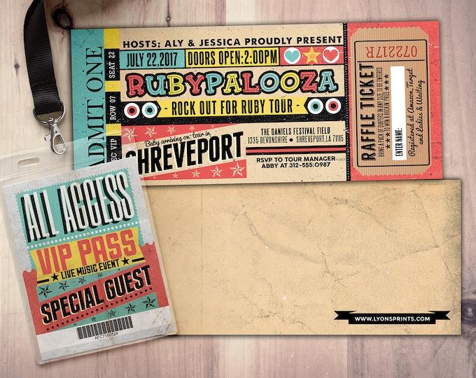 ROCK STAR concert ticket baby shower invitation- Rock baby shower invitation- couples baby shower -birthday, pop star