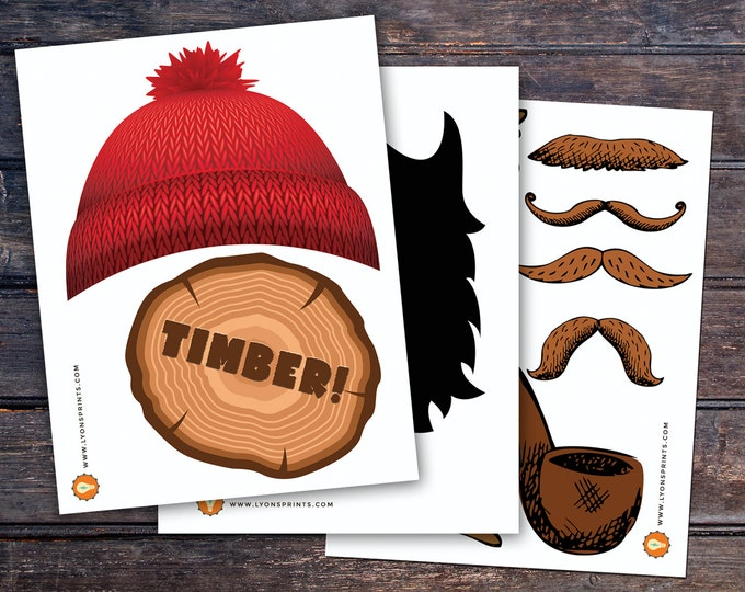 Lumberjack photo props, Lumberjack decor, Woodland party, flannel, woodland shower, woodland birthday, beard prop, Timber