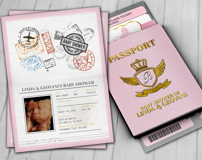 PASSPORT and TICKET baby shower invitation, Coed baby shower invitation- travel baby shower invitation- couples baby shower, Digital files