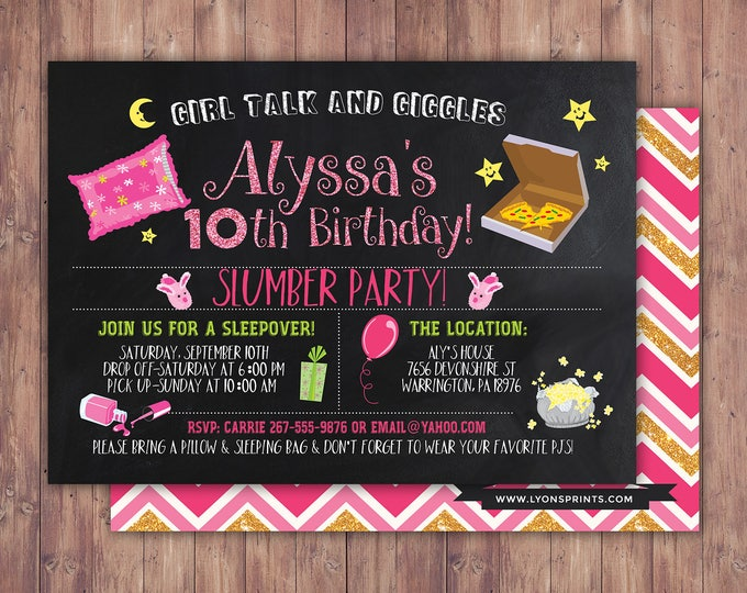 slumber party invitation / girls slumber party invitations / sleepover invitation / spa sleepover invitation / girl sleepover invitation