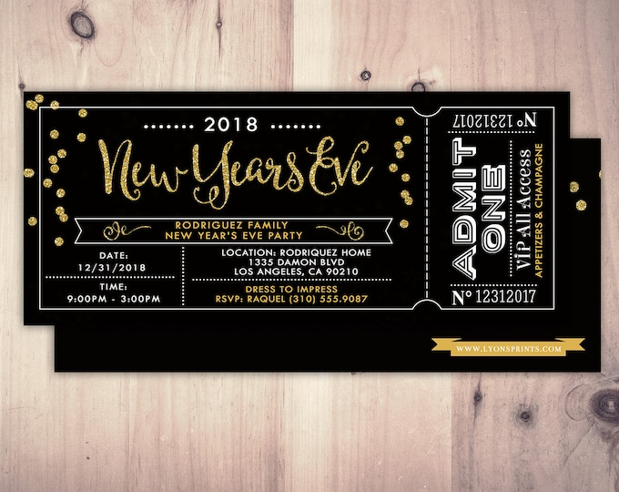 New Years Invitation - New Years Eve Invitation - New Years Party - New Years Invite - Black & Glitter Invitation - New Year's Eve Printable