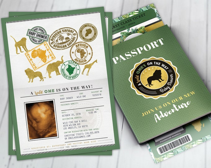 Passport invitation, Jungle Invitation, Jungle invite, Safari invitation, Safari Invite, Baby shower, Wild One, Elephant, Lion,