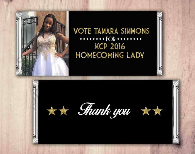 Sorority, fraternity, college, favor, school gift, political, custom wrapper, class president, vote, thank you, high school, campaign