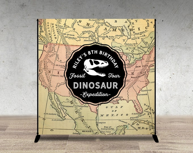 Digital Dinosaur Dig Party decor, Digital file only, Dinosaur Birthday backdrop, Dino sign, Dino Skeleton and Bones,  Fossil, paleontologist
