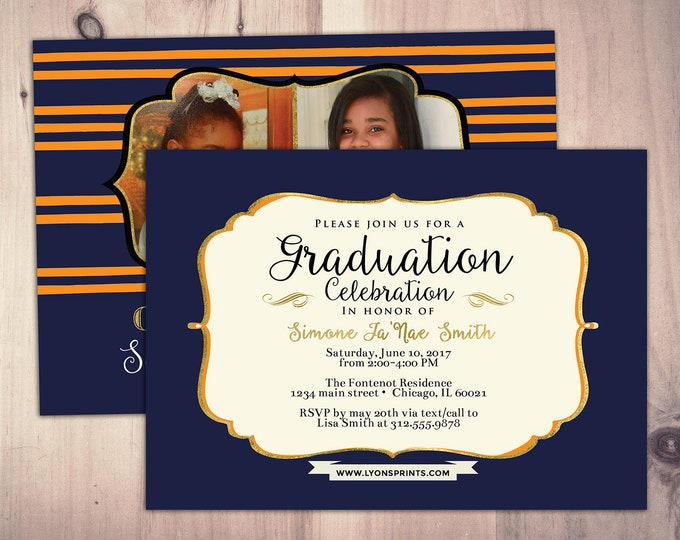 Graduation Party Invitation, invite, party, class of 2018, grad, graduate, graduation invitation, class photo card, high school graduation
