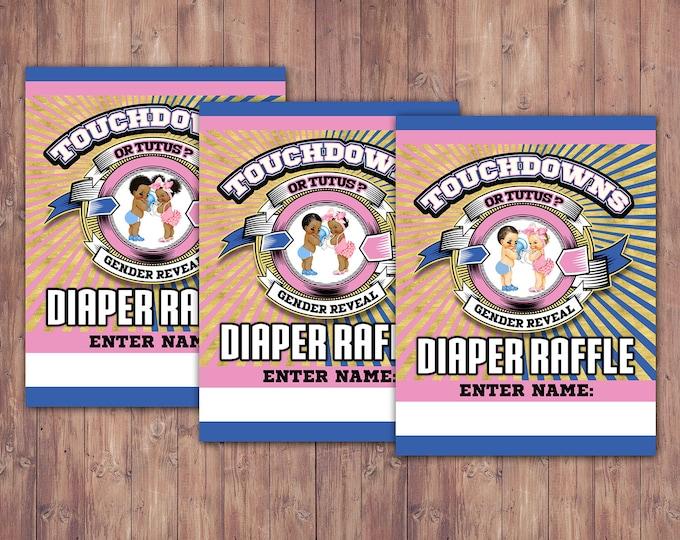 Football diaper raffle insert, Baby Shower, gender reveal, sports, baby boy, baby girl,  diaper raffle, shower game, Digital files