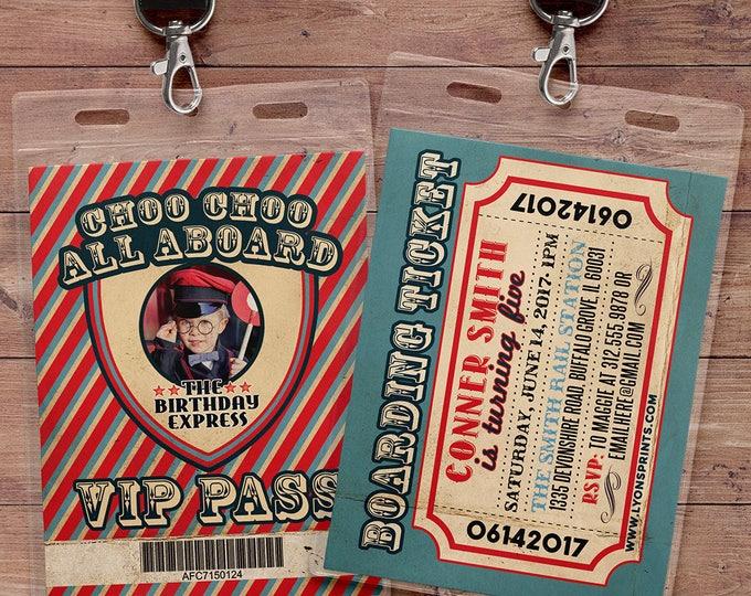 VIP pass, Choo Choo train, Vintage Train Ticket Invitation,Vintage Train invitation - Train ticket invitation for birthday party