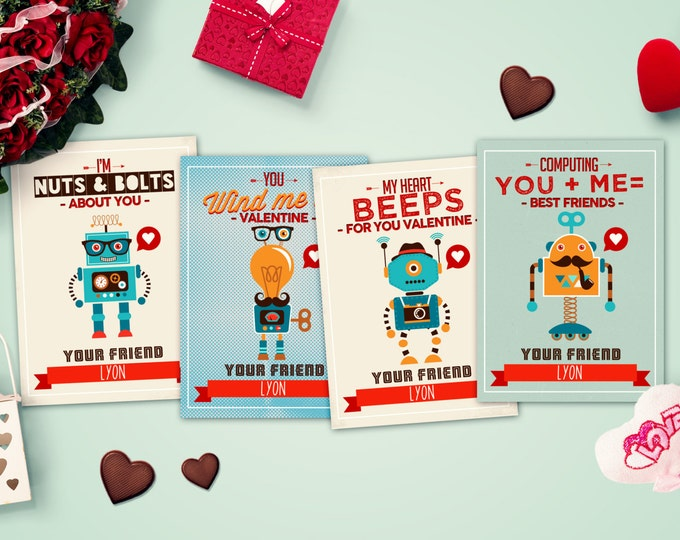 Printable Valentine Card, Boy's Valentine's, Robot, Candy, Monster, hipster, kid's valentine's, Valentine's Day, Valentines Day, class party