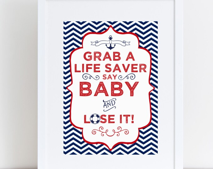 4 nautical baby shower signs, navy blue, white and red, printable, INSTANT DOWNLOAD, baby shower, party decor, shower games