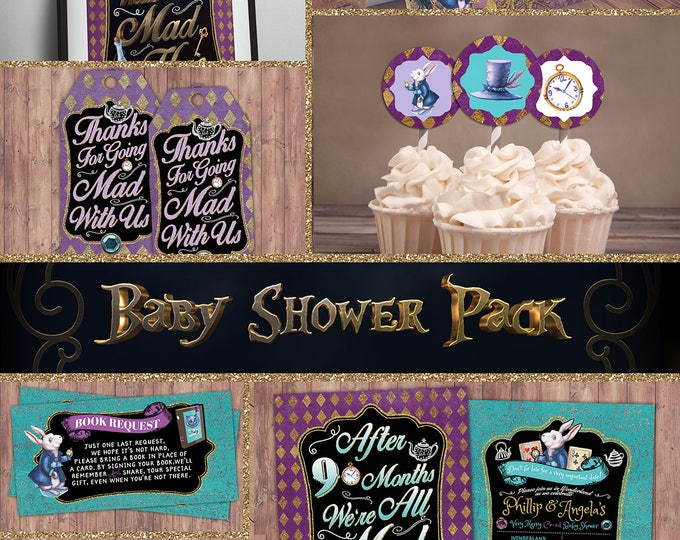 Baby shower, Mad Hatter Tea Party, Alice in Wonderland Invitation, cupcake toppers, food tents, diaper raffle, book request, poster