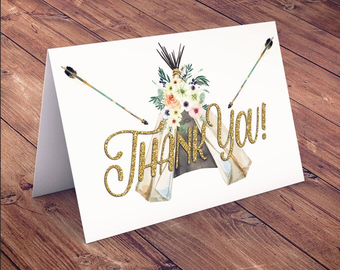 TEEPEE Baby Shower thank you, Thank you card, aztec baby shower, BOHO, arrows, pow wow, Tribal, greeting card