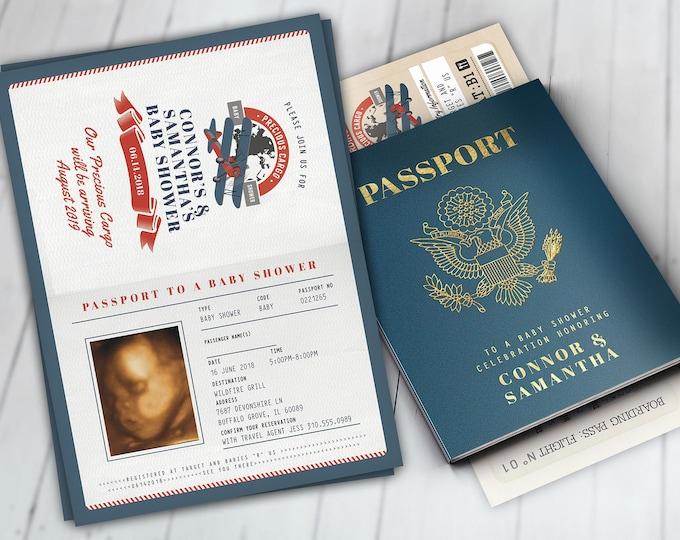 Precious Cargo Invitation, Baby Shower Invitation,  Baby Shower, vintage airplane invitation, boy baby shower, passport invite