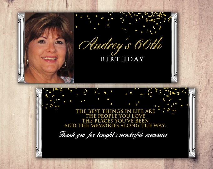 Birthday, Candy Bar Wrappers - Gold, Silver Adult Milestone Favors 30th, 40th, 50th, 60th, 70th, 80th Any Age, printable, aged to perfection