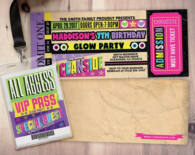 Pop star, Rock Star concert ticket birthday party invitation- Music invitation, rockstar party, pop star, karaoke party, Glow party