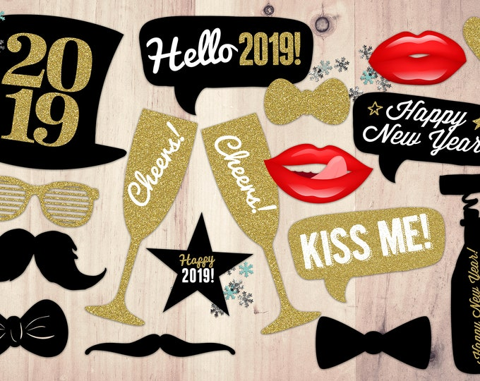 DIGITAL FILES ONLY-New Years Photo Props - New Years Eve  - New Years Party - New Years Invite - Photo booth - New Year's Eve Printable
