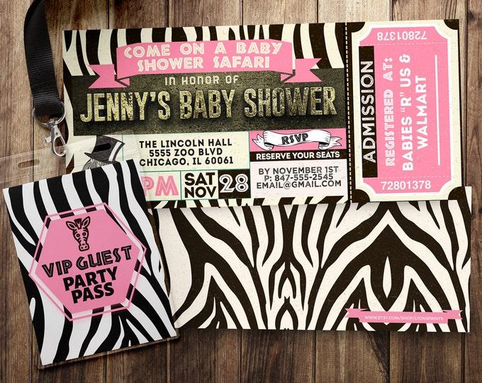 Ticket invitation, Safari, baby shower, baby shower, Zoo, animal print, animals, ,safari birthday, Animal print invite, safari invitation