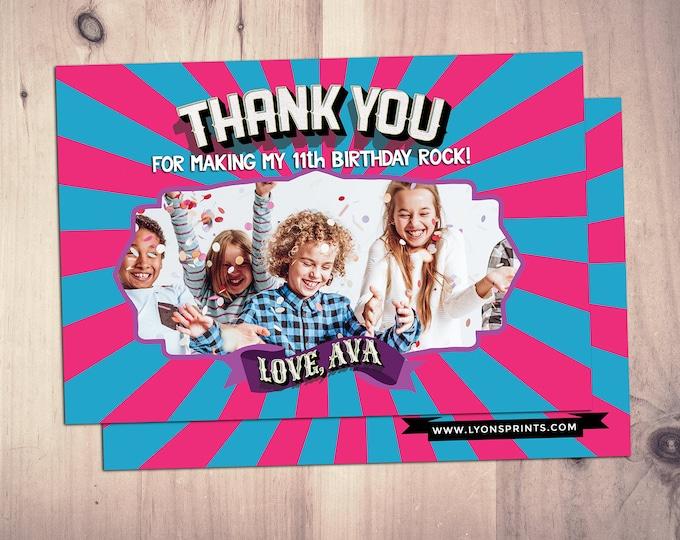 Thank You Card - Greeting Card -  Rockstar thank you card - Pop star Thank you - Birthday Party, pop star party, rock star birthday