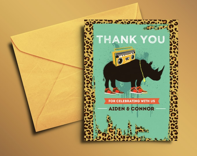 Thank You Card - Greeting Card - All occasion card - Safari thank you card - birthday Thank you - Birthday Party Thank You Card, Animal, Zoo