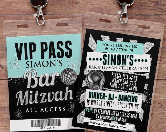 Bar Mitzvah, birthday invitation, rock star, VIP PASS, backstage pass, birthday invitation, wedding, baby shower, party favor