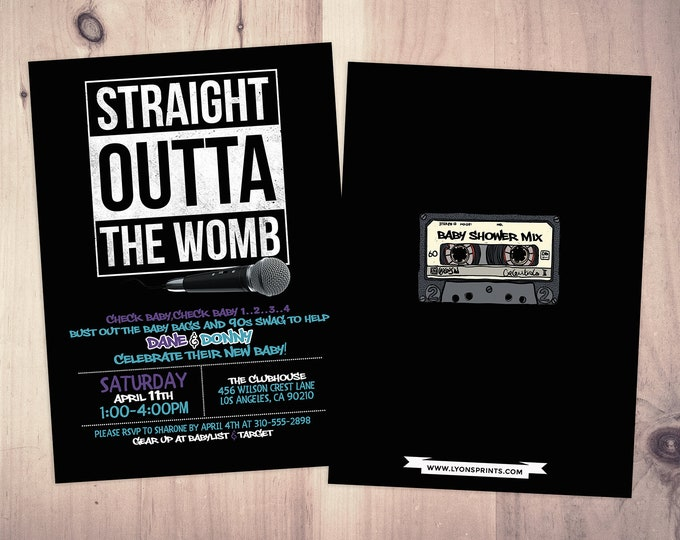Hip Hop baby shower, 90s party, Hip Hop invitation, birthday invitation, Fresh Prince, Rap,