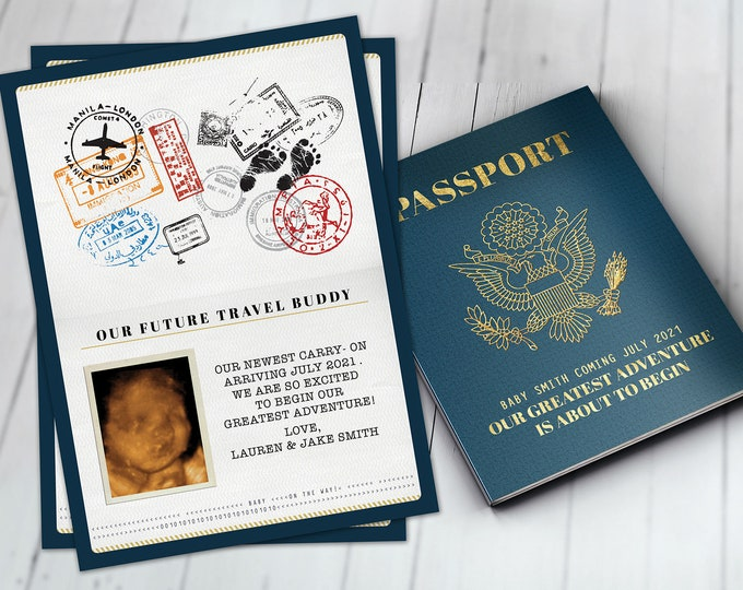 Passport pregnancy announcement, birth announcement, travel baby announcement, baby boy, baby girl, baby shower, pregnant, expecting