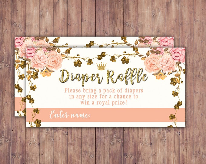 Princess Baby Shower, Princess Carriage Baby Shower, Pink Gold Glitter Princess Baby Shower, Carriage, diaper insert