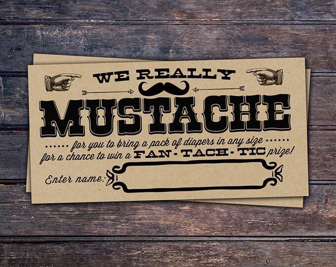 Mustache Bash Baby Shower, diaper raffle - Mustache Shower Invite - shower game - Little Man- baby shower, boy baby shower, mustache,