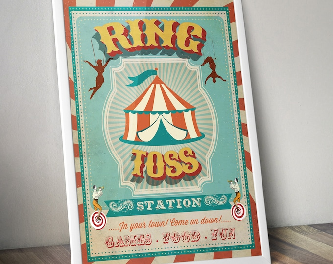Carnival Party - Circus Party - party station sign - ring toss sign - Vintage circus- Vintage Carnival - Digital file only