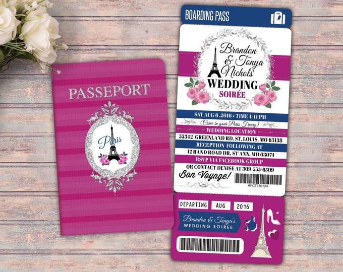 PASSPORT and TICKET wedding invitation! Girl birthday party invitation- travel birthday party invitation- Paris, love