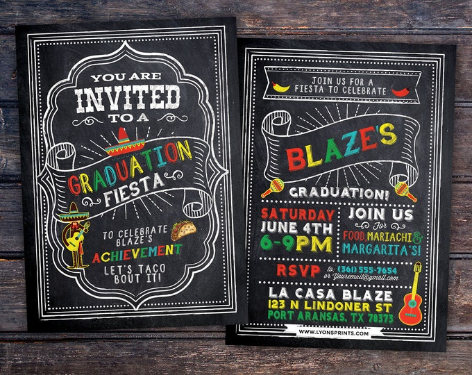 Graduation Party Invitation, Fiesta, Mexican, invite, party, class of 2018, grad, graduate, graduation invitation, tacos, grad, graduate