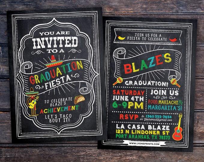 Graduation Party Invitation, Fiesta, Mexican, invite, party, class of 2020, grad, graduate, graduation invitation, tacos, grad, graduate