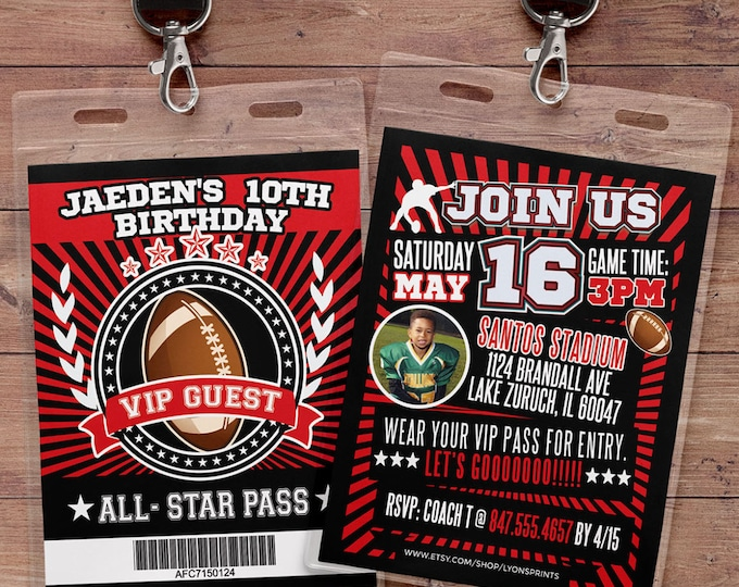 Football ticket Invitation // All Star Birthday //  VIP pass, BIRTHDAY invitation, boy birthday, sports birthday, football baby shower