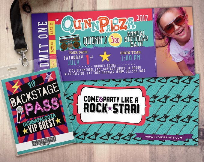 Rock Star-Concert ticket birthday invitation- girl birthday invitation- pop star birthday invitation-music birthday invitation-Lollapalooza