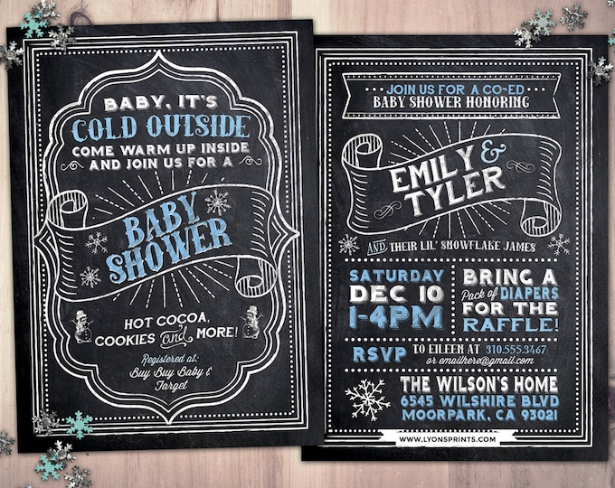 Winter baby shower invitation. Retro chalkboard Baby it's cold outside snowflake gender neutral couple baby shower, snowflake