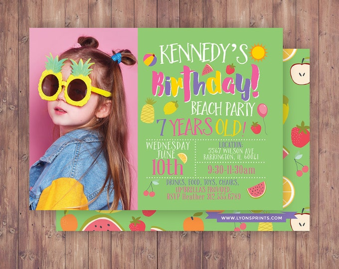 Tutti Frutti Invitation, Fruit Birthday, drive by birthday party,Fruity Party, Fruits Invite, Tropical Summer, summer birthday invite, fruit