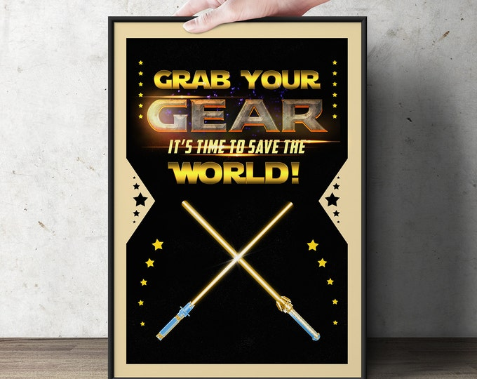 Star, birthday, poster, party sign, party favors, light saber, Jedi, digital file only, boy birthday decor, star party poster,