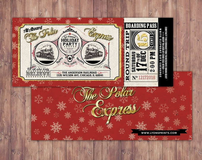 Polar Express HOLIDAY PARTY Invitation, Printable Holiday party Decorations, Polar Express invitation, Winter Wonderland, Christmas
