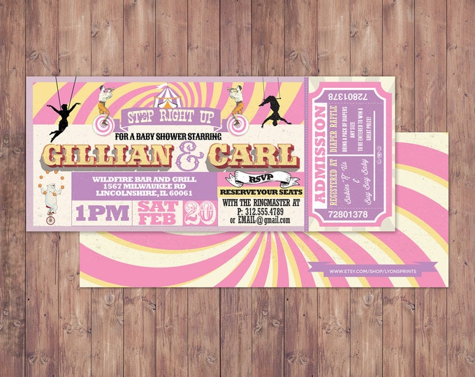CIRCUS Baby Shower Invitation- Carnival baby shower invitation-Coed baby shower invitation- Animal baby shower invitation-couples shower,