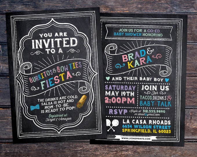 Burritos and Bow Ties, Mexican Fiesta, couples co-ed Baby Shower BBQ invitation - babyq - baby is brewing, baby girl shower, fiesta, Mexican