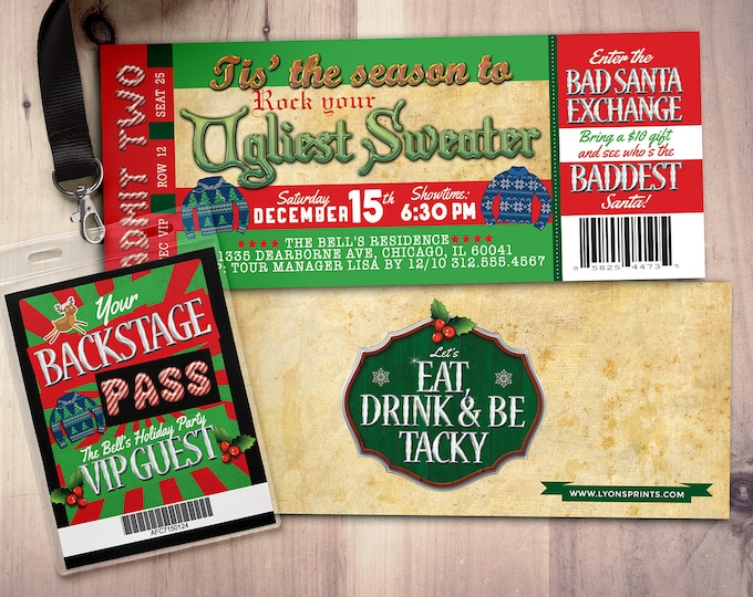 Holiday party invitation - Ugly Sweater Christmas party invitation - holiday party invite- ugly sweater invitation, rockstar, ticket invite
