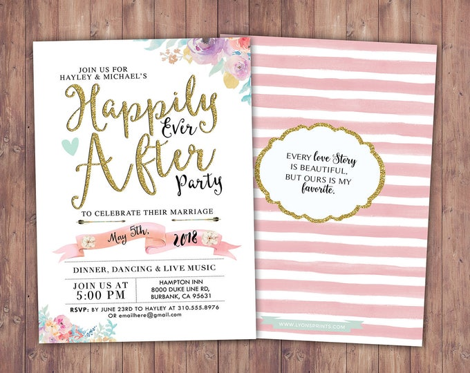 Happily ever after invitation, BOHO wedding shower Invitation, couples shower, arrows, wedding, bridal shower invitation, Digital file