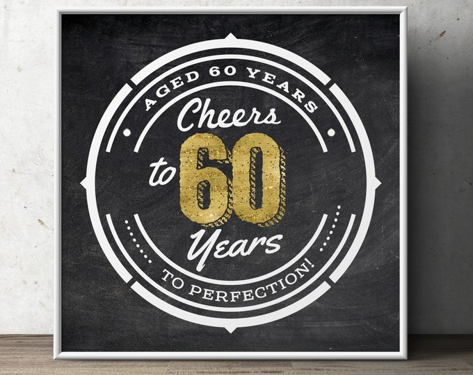 60th birthday party decoration ( Digital file only)  birthday gift for women and men - Cheers and beers, decorations, Cheer to 60 years