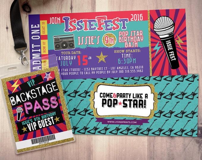 ROCK STAR concert ticket birthday party invitation- Music invitation- printable, rockstar party, pop star, karaoke party, hip hop, invite